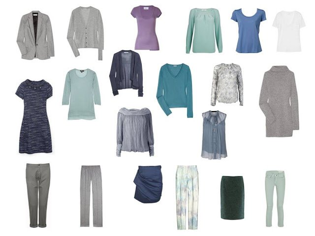 travel capsule wardrobe in blue, green and grey, based on the colors of an abalone shell