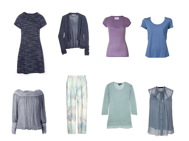 eight items to add to a capsule travel wardrobe based on the colors of an abalone shell