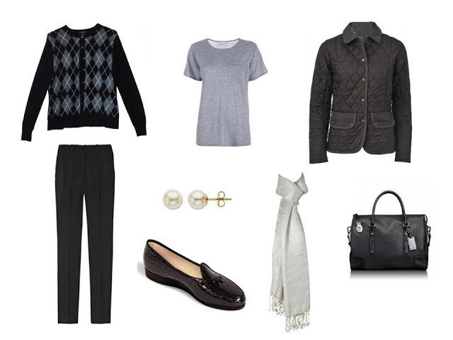 a travel outfit with a black argyle cardigan, grey tee, pearl earrings and a white scarf