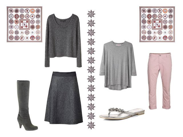two outfits to wear with Hermes Belle du Mexique silk scarf: a sweater and skirt, and a tee shirt with capris