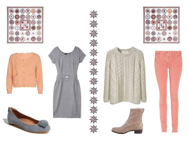 two outfits to wear with Hermes Belle du Mexique silk scarf: a dress, and a sweater with trousers
