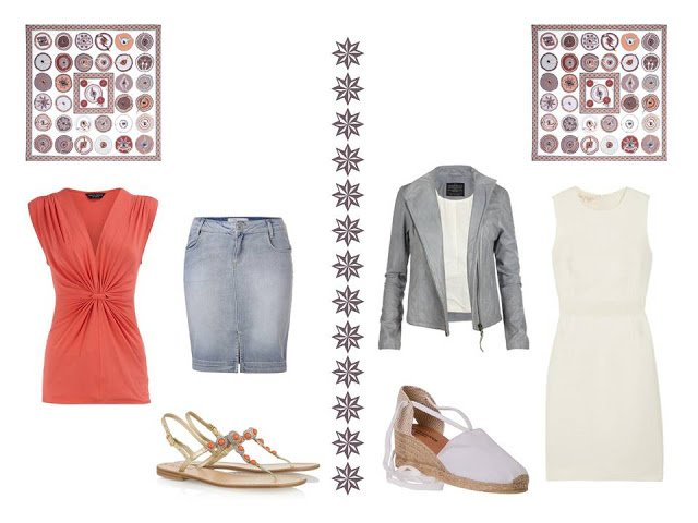 two outfits to wear with Hermes Belle du Mexique silk scarf: a top with denim skirt, and a dress and jacket