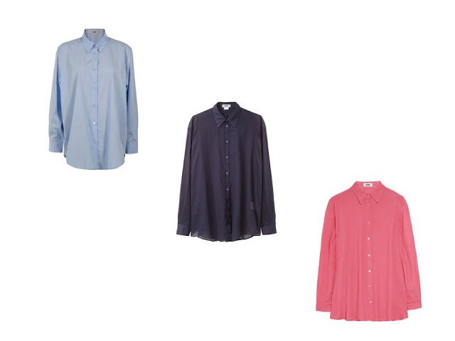 Three simple blouses in light blue, navy and coral