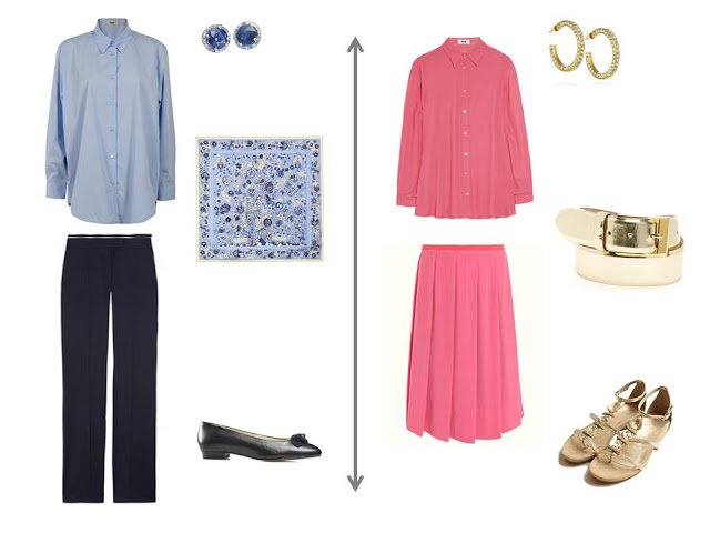 light blue shirt with navy trousers and a printed scarf; coral blouse and matching skirt with gold accessories