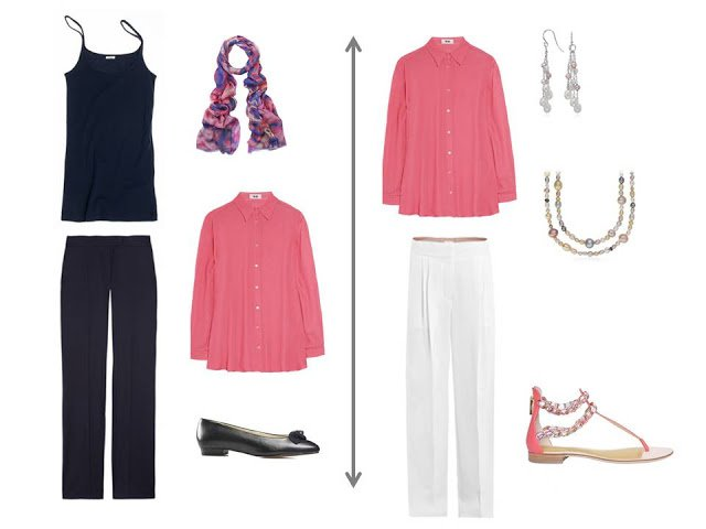 coral blouse worn as a jacket over a matching tank top and trousers; coral blouse with white trousers and pearl jewelry