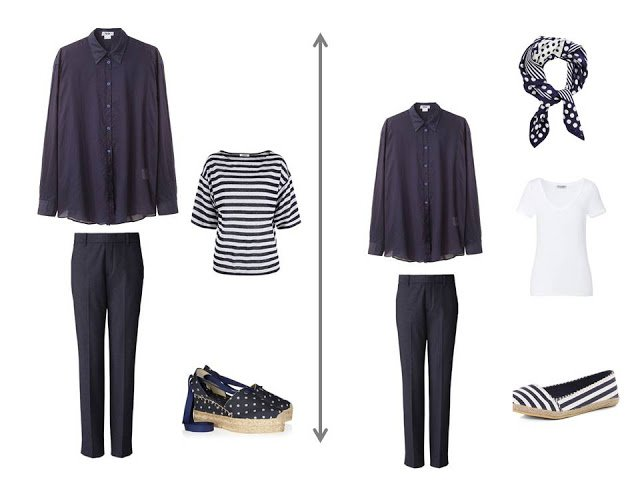 navy blouse worn as a jacket over a striped tee shirt, or a white tee shirt, with navy trousers