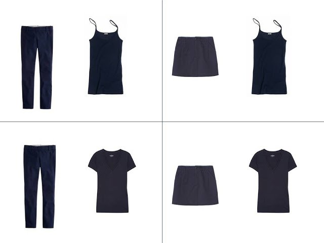 Four outfits from the navy Core of Four