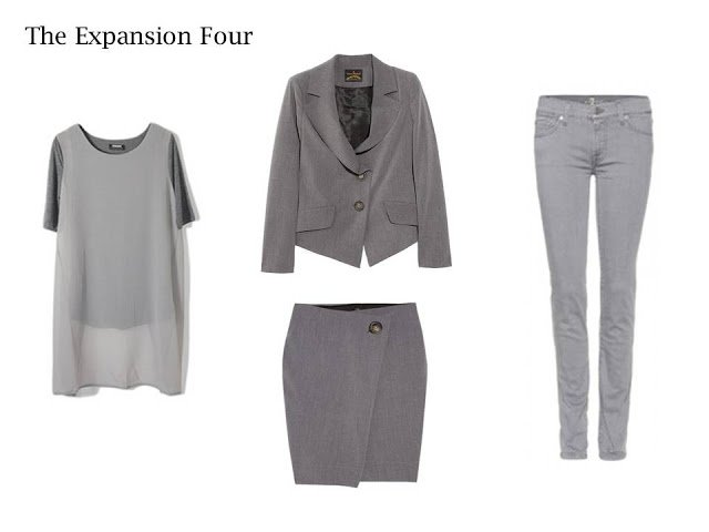 An Expansion Four in grey: sheer top, cropped jacket, wrap skirt and jeans