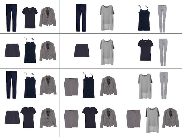 A dozen outfits from the navy Core of Four and they grey Expansion Four