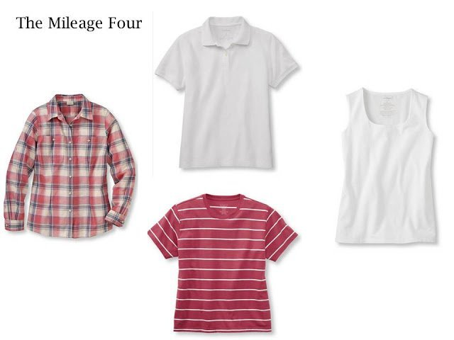 4 summer tops, in red and white