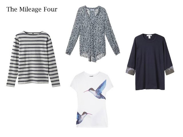 A Mileage Four in navy and grey: a striped top, floral blouse, bird-print tee, and navy tee