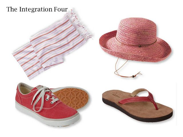 4 essential summer accessories - a light scarf, sun hat, canvas shoes, and sandals