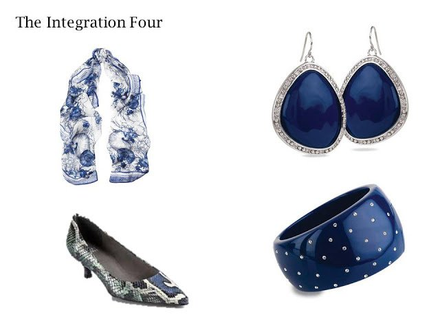 An Integration Four in navy and grey: scarf, shoes, earrings andbracelet