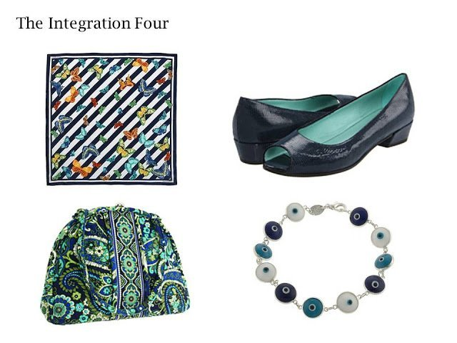 4 essential wardrobe accessories: scarf, bag, shoes, and bracelet