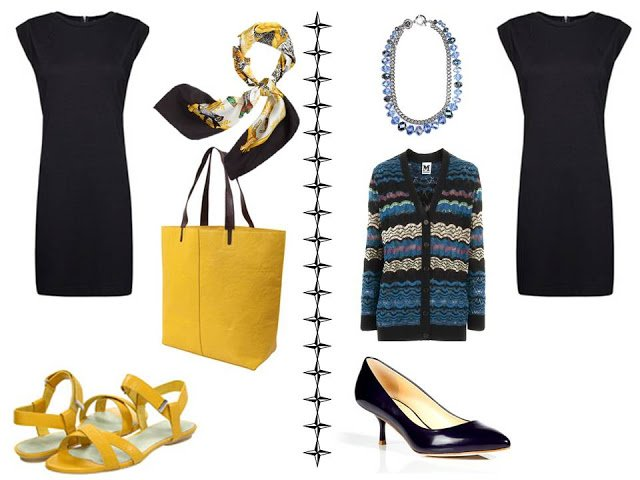 Simple black dress with an Hermes scarf an yellow accessories; and with a Missoni cardigan and blue accessories