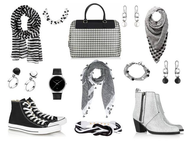 Black and white accessories - shoes, bag, jewelry and scarves - to wear with the original version of A Common Wardrobe.