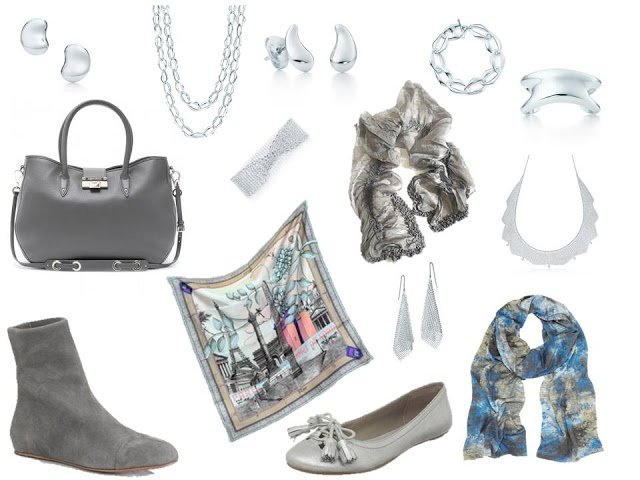 Silver and grey accessories to wear with A Common Wardrobe