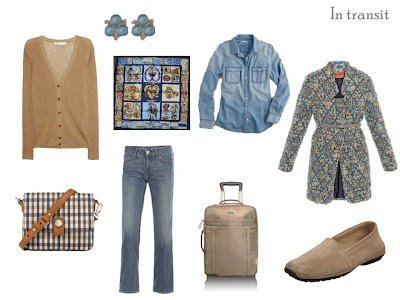 Travel outfit in denim and camel with Hermes scarf