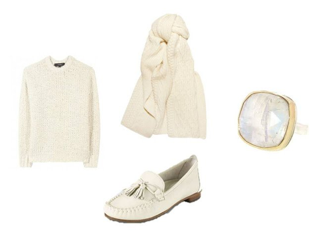 winter white wardrobe additions: scarf, sweater, loafers and a ring