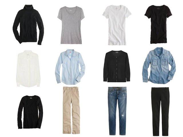 twelve-piece black, white, denim and khaki basic wardrobe, 12 piece basic neutral capsule wardrobe, Minimalist Wardrobe, common wardrobe, basic wardrobe, 12-piece wardrobe