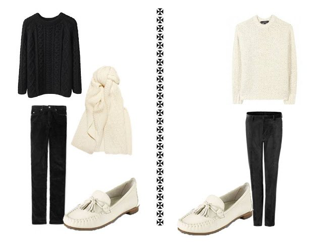 2 outfits from a core black wardrobe accented with winter white