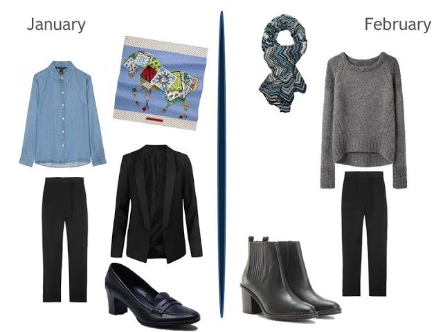 2 cool-weather outfits using black pants - 1 with a denim shirt, 1 with a grey sweater