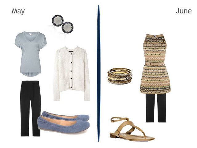 two warm weather outfits including black pants, one with white, and one with gold accents
