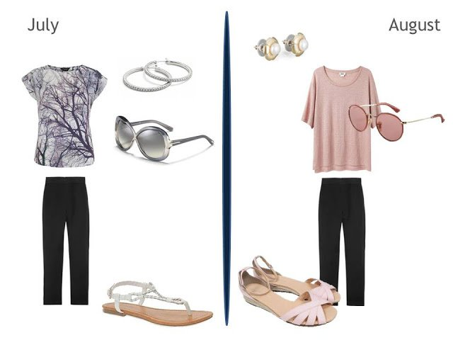 two warm weather outfits including black pants, one with a tee shirt, one with a tunic