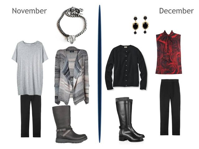 2 cool weather outfits using a pair of black pants, one with a cozy cardigan, and a dressy outfit with a blouse and cardigan