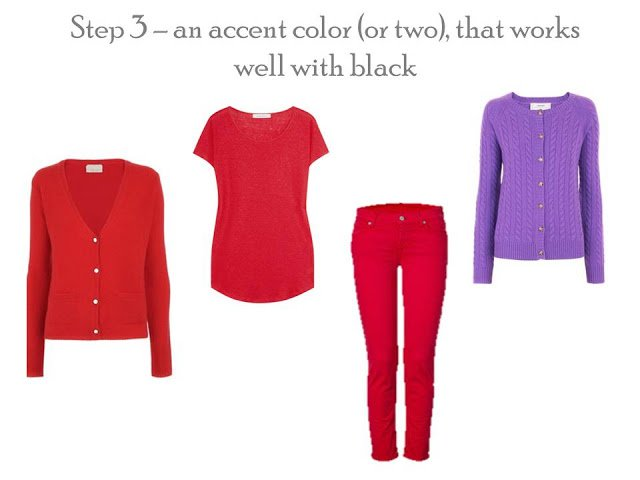 Accent color additions to a Project 333 wardrobe - red cardigan, tee and jeans, purple cardigan