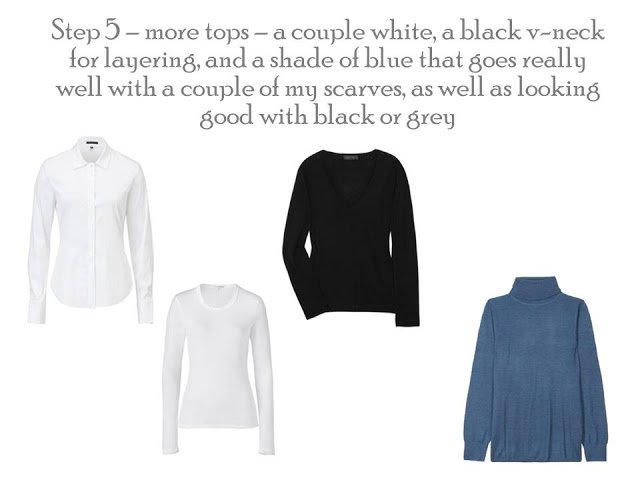 Four tops to add to a Project 333 wardrobe, white shirt, white tee shirt, black sweater and blue turtleneck