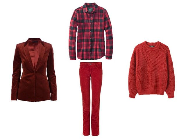 Four pieces of red clothing, to use as accents in A Common Wardrobe