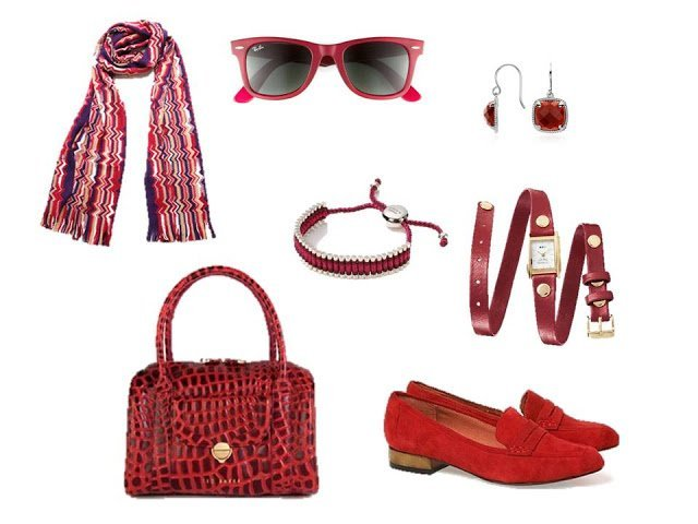 red accessories - scarf, sunglasses, jewelry, bag and shoes - to use as accents for A Common Wardrobe