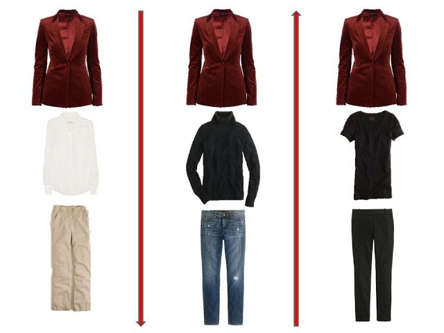 3 outfits from A Common Wardrobe, accented with a red jacket