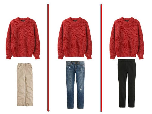 3 outfits from A Common Wardrobe, accented with red