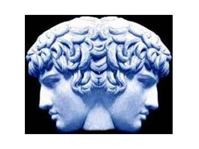 sculpture of Janus, the god of portals, doorways, beginnings and endings