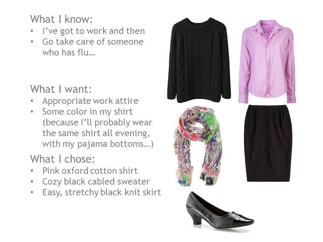 cabled black sweater, pink oxford shirt, black skirt