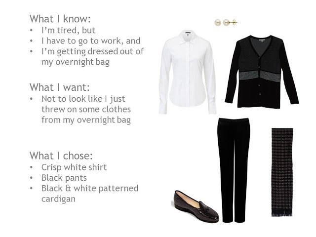 white shirt, black and white cardigan, black pants, black and white scarf