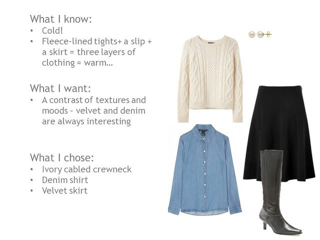 Aran sweater, denim shirt, velvet skirt, boots
