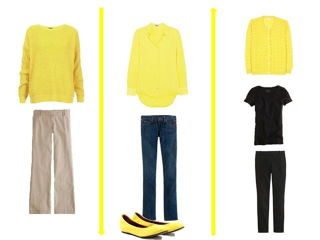 3 outfits using lemon yellow as an accent color