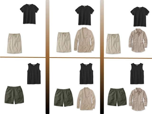 """Six outfits with a black tee shirt or tank and """"Whatever's Clean"""" for summer"""