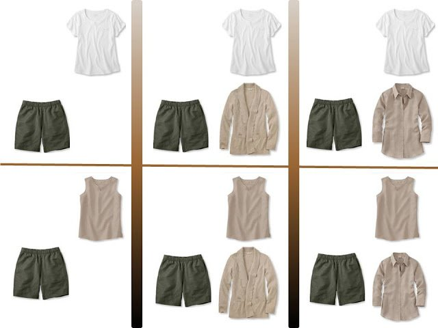 """Six outfits with olive shorts and """"Whatever's Clean"""" tops"""