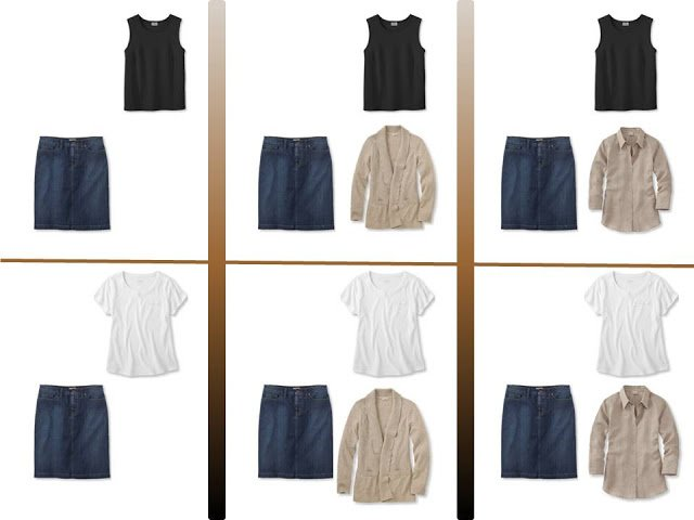 """six outfits with a denim skirt and """"Whatever's Clean"""" for summer"""