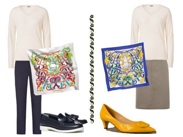 white v-neck sweater with trousers and an Hermes scarf, or a skirt and an Hermes scarf