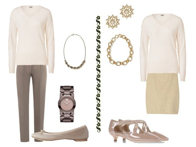 a white v-neck sweater with warm-toned neutral trousers, or with a warm-toned neutral skirt
