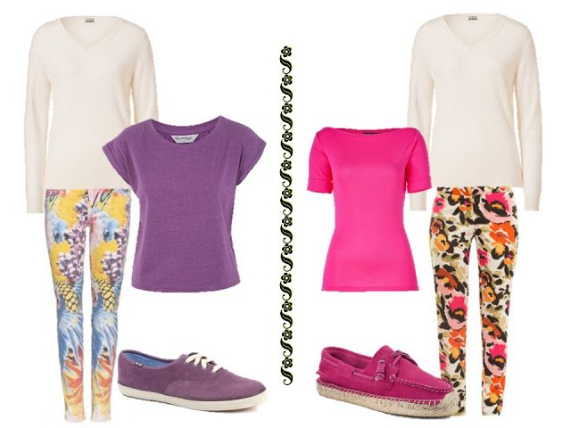 a white v-neck sweater with brightly printed trousers, bright tee shirts, and fun shoes