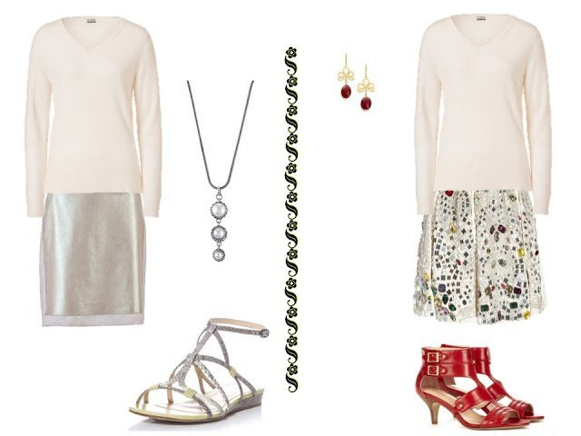 a white v-neck sweater with dressy skirts and dressy sandals