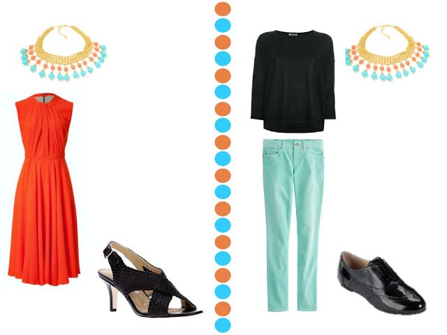 coral red dress and black top with turquoise pants with turquoise and coral necklace