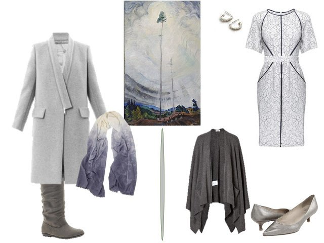 grey coat and grey dress inspired by Scorned as timber, Beloved of the Sky