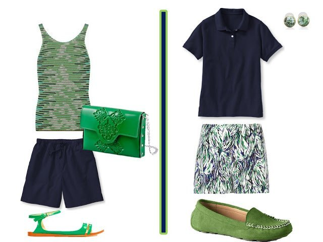 navy and green casual outfits with shorts or a tennis skirt